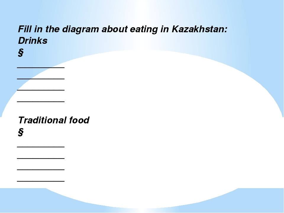Fill in the diagram about eating in Kazakhstan: Drinks ↓ _________ _________...
