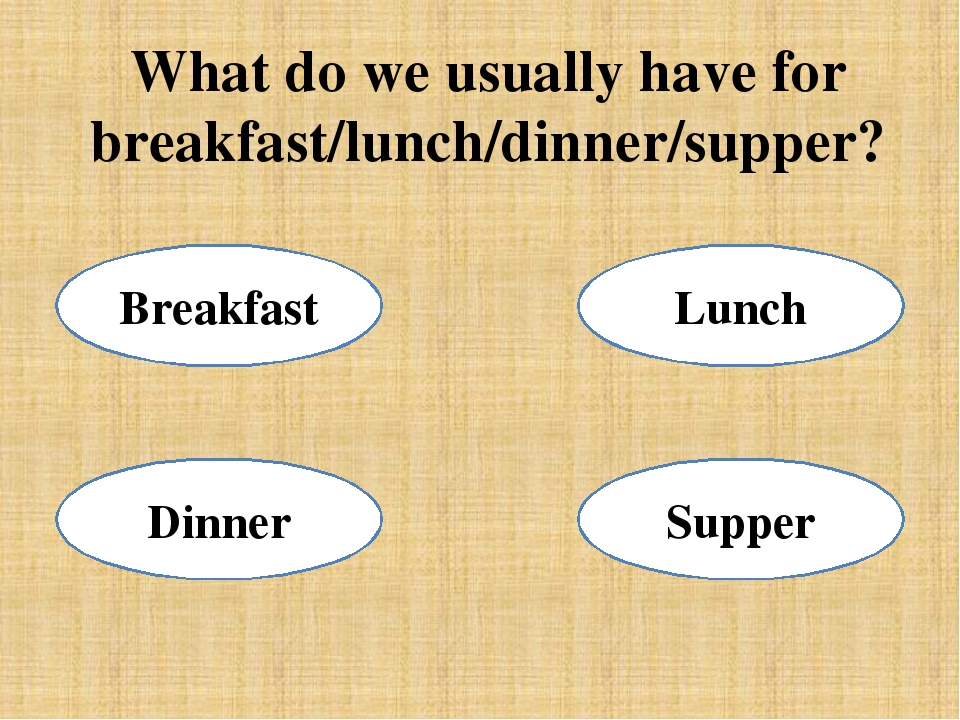 What do we usually have for breakfast/lunch/dinner/supper? Supper Dinner Brea...