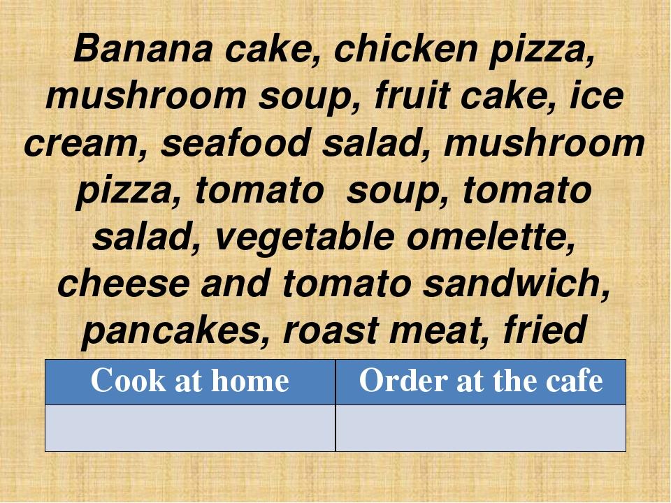 Banana cake, chicken pizza, mushroom soup, fruit cake, ice cream, seafood sal...