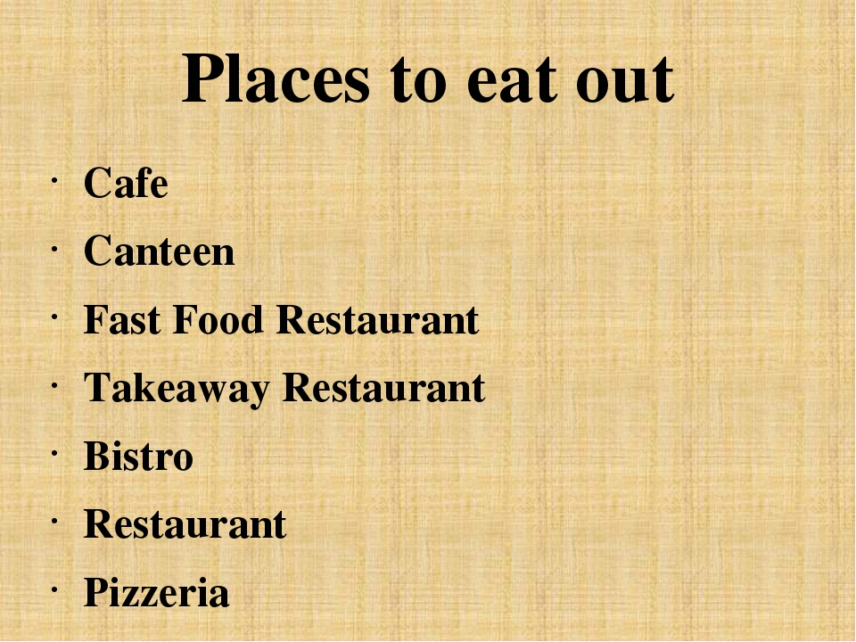 Places to eat out Cafe Canteen Fast Food Restaurant Takeaway Restaurant Bistr...