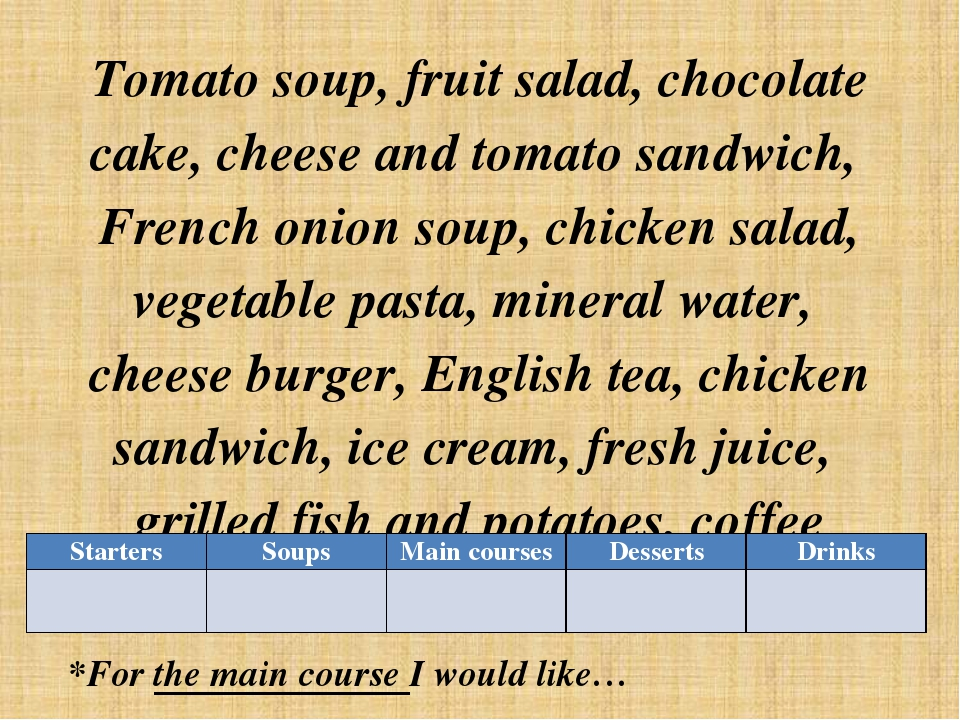 Tomato soup, fruit salad, chocolate cake, cheese and tomato sandwich, French...