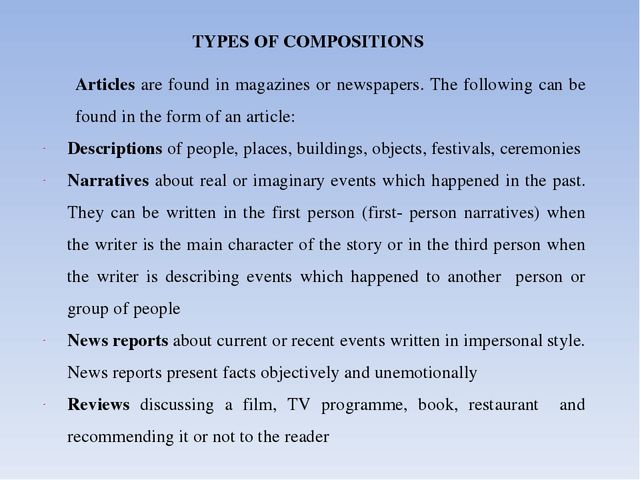 types of composition writing Composition is the act of creating written works writing is the act of putting individual words and thoughts into a coherent and readable text.