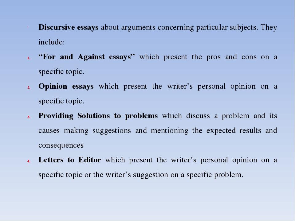discursive essays to copy