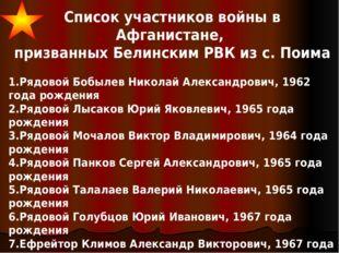 Список участников войны в Афганистане, призванных Белинским РВК из с. Поима