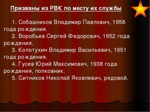 Призваны из РВК по месту их службы  1. Собашников Владимир Павлович,
