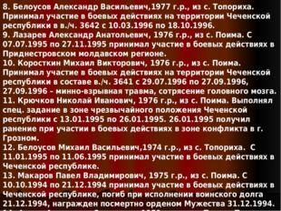 8. Белоусов Александр Васильевич,1977 г.р.,из с. Топориха. Принимал участие