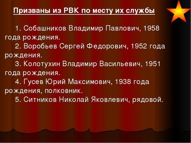 Призваны из РВК по месту их службы  1. Собашников Владимир Павлович,...