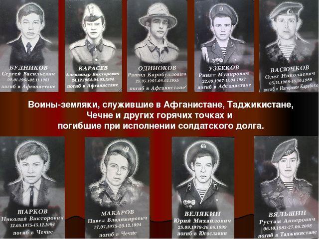 Воины-земляки, служившие в Афганистане, Таджикистане, Чечне и других горячих...