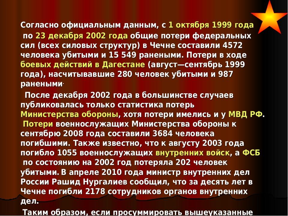 Согласно официальным данным, с1 октября1999 годапо23 декабря2002 годао...