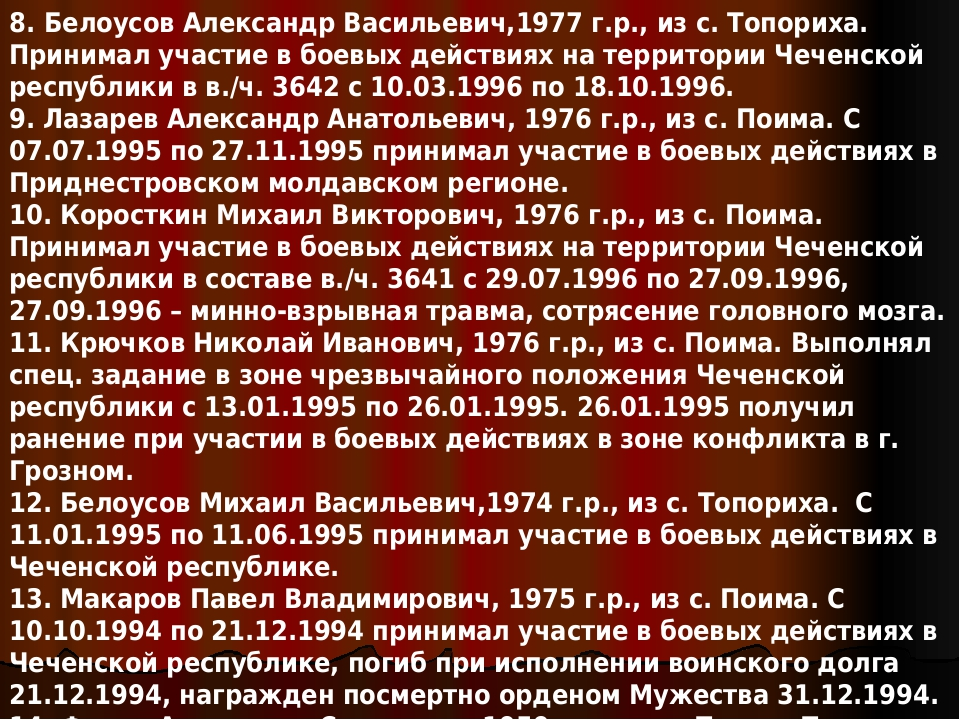 8. Белоусов Александр Васильевич,1977 г.р.,из с. Топориха. Принимал участие...