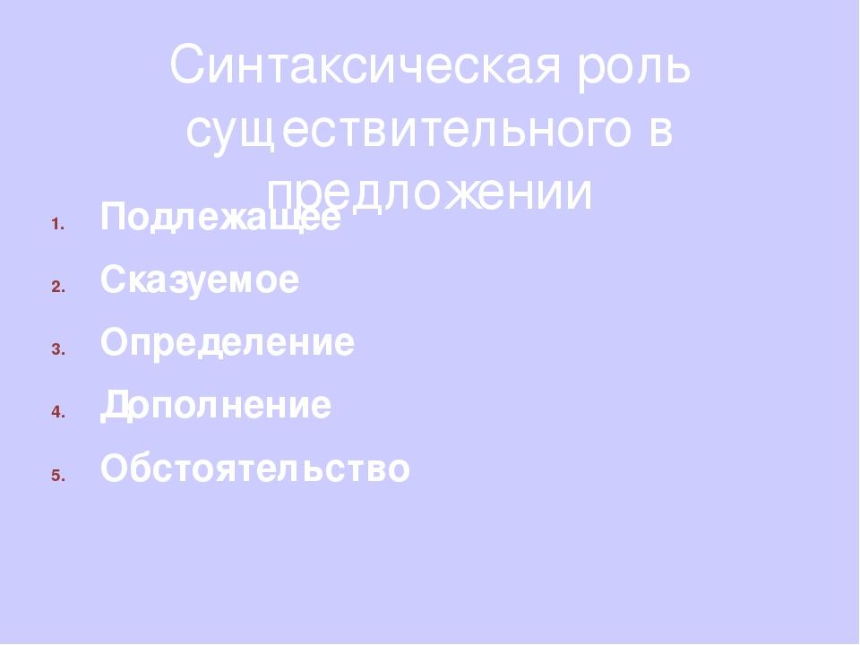 Синтаксическая роль существительного в предложении Подлежащее Сказуемое Опред...