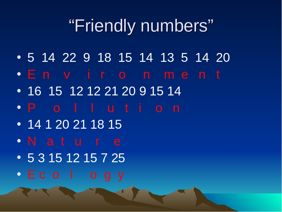 """Friendly numbers"" 5 14 22 9 18 15 14 13 5 14 20 E n v i r o n m e n t 16 15..."