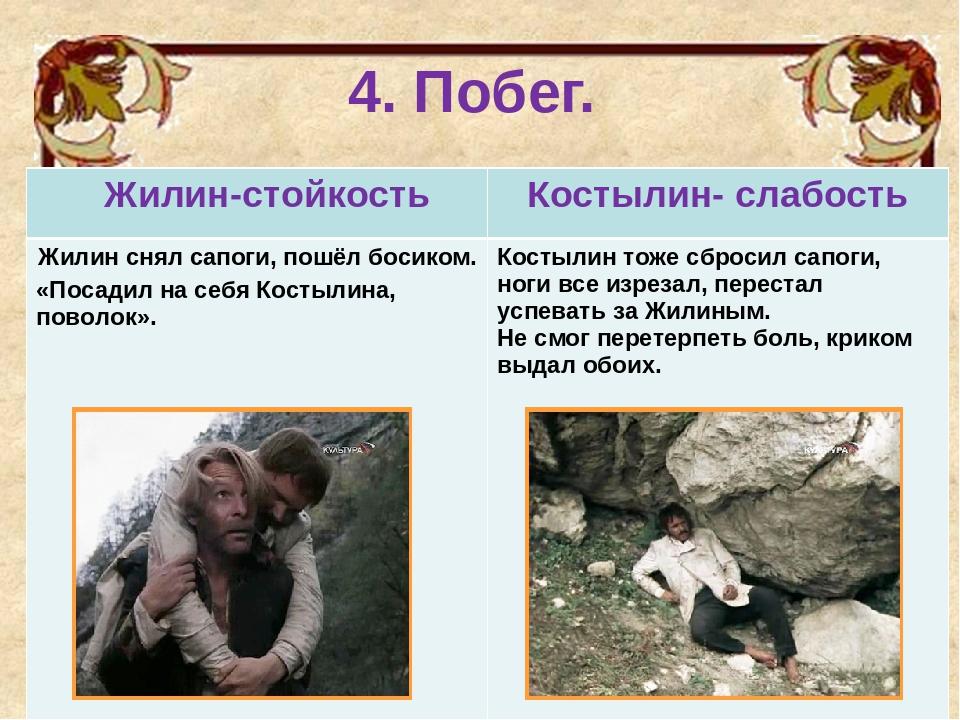 4. Побег. Жилин-стойкостьКостылин- слабость Жилин снял сапоги, пошёл босиком...