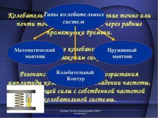 Громова Татьяна Александровна МБОУ «ЧСОШ №1» Колебательное движение – движени