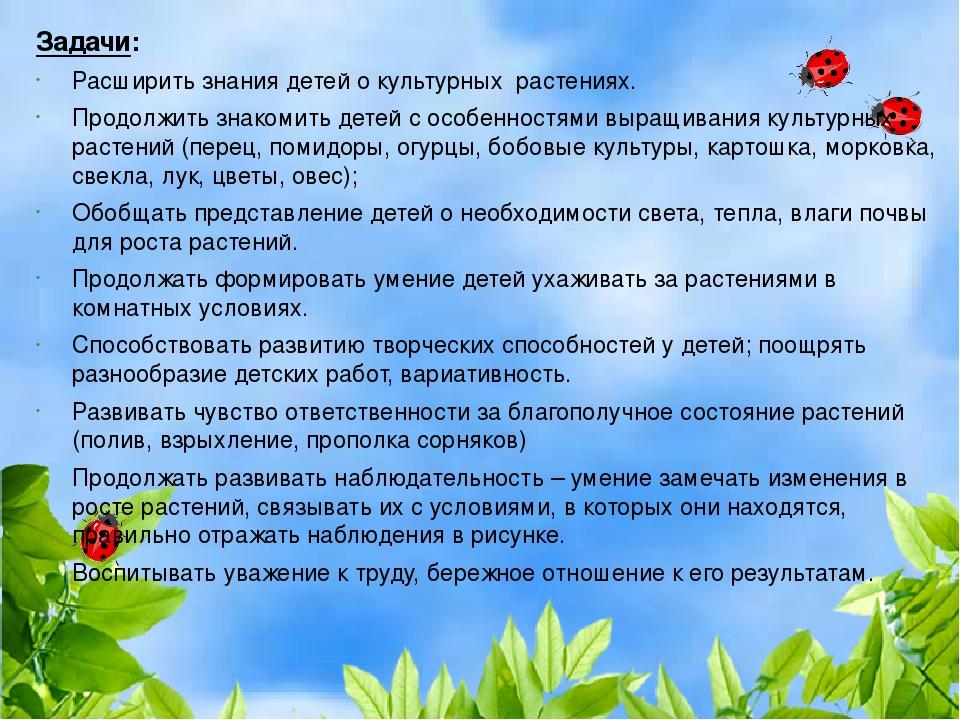 Задачи: Расширить знания детей о культурных растениях. Продолжить знакомить д...