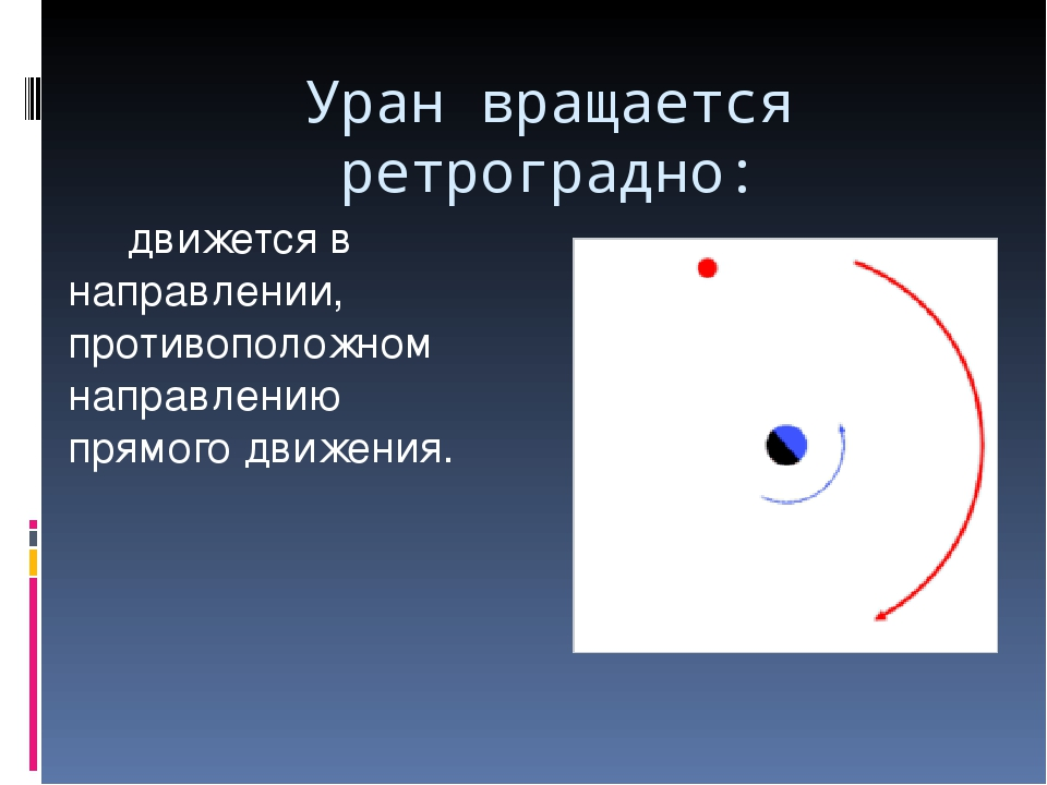 Уран вращается ретроградно: движется в направлении, противоположном направлен...