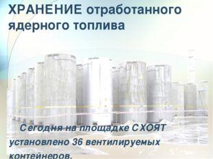 ХРАНЕНИЕ отработанного ядерного топлива Сегодня на площадке СХОЯТ установлен