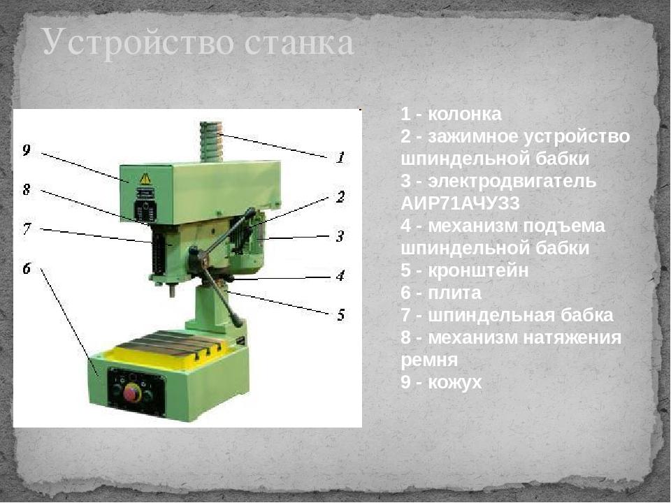 Устройство станка 1 - колонка 2 - зажимное устройство шпиндельной бабки 3 - э...