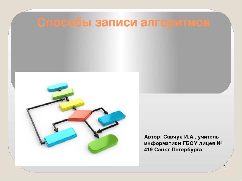 Способы записи алгоритмов Автор: Савчук И.А., учитель информатики ГБОУ лицея...
