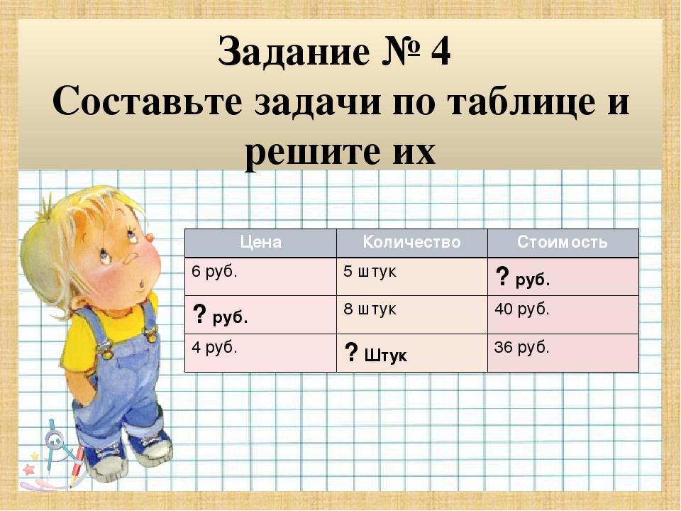 гдз составь и запиши задачу по таблице