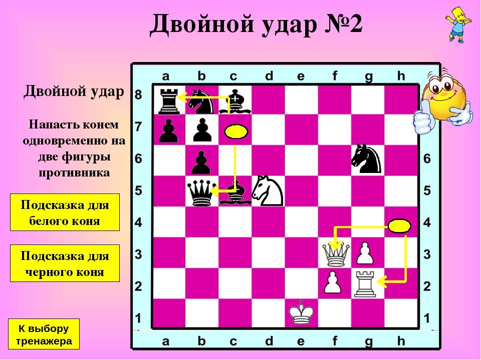 Двойной удар №2 Двойной удар Напасть конем одновременно на две фигуры противн...