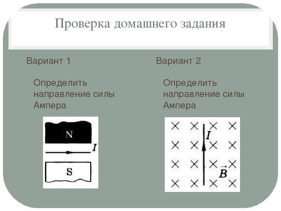 Проверка домашнего задания Вариант 1 Определить направление силы Ампера Вариа...