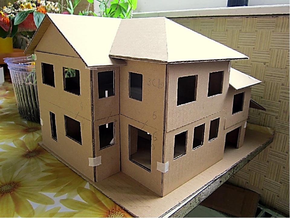 Игрушечный домик из бумаги как сделать