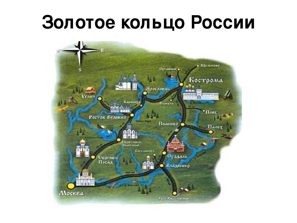 Карта золотого кольца россии с городами и достопримечательностями