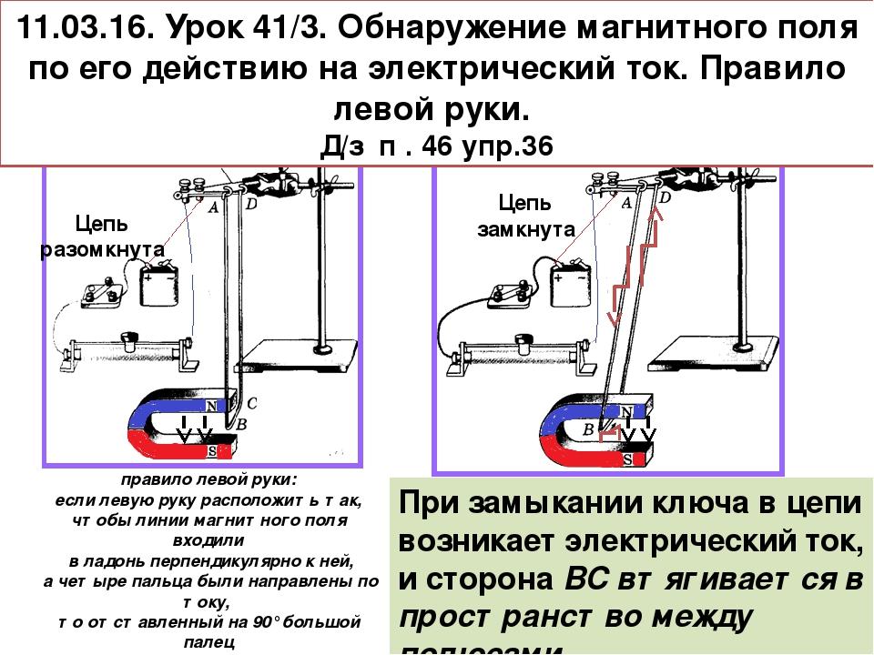 11.03.16. Урок 41/3. Обнаружение магнитного поля по его действию на электриче...