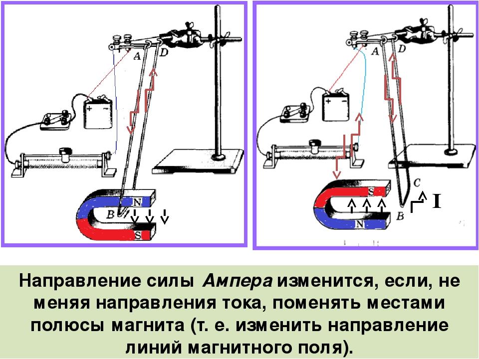 Направление силы Ампера изменится, если, не меняя направления тока, поменять...