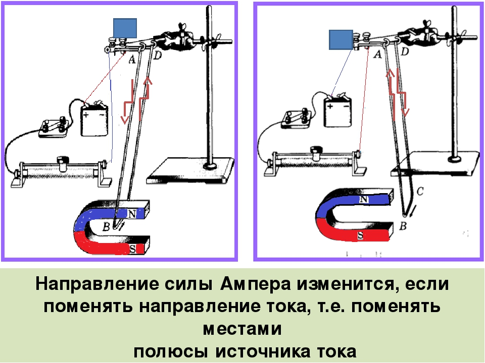 Направление силы Ампера изменится, если поменять направление тока, т.е. помен...
