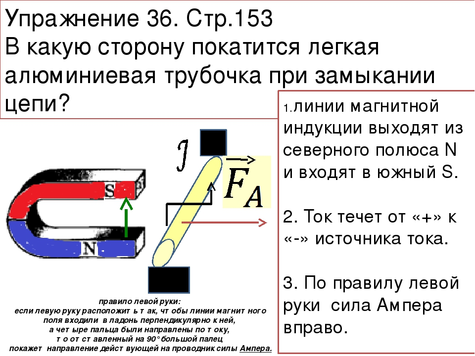 Упражнение 36. Стр.153 В какую сторону покатится легкая алюминиевая трубочка...