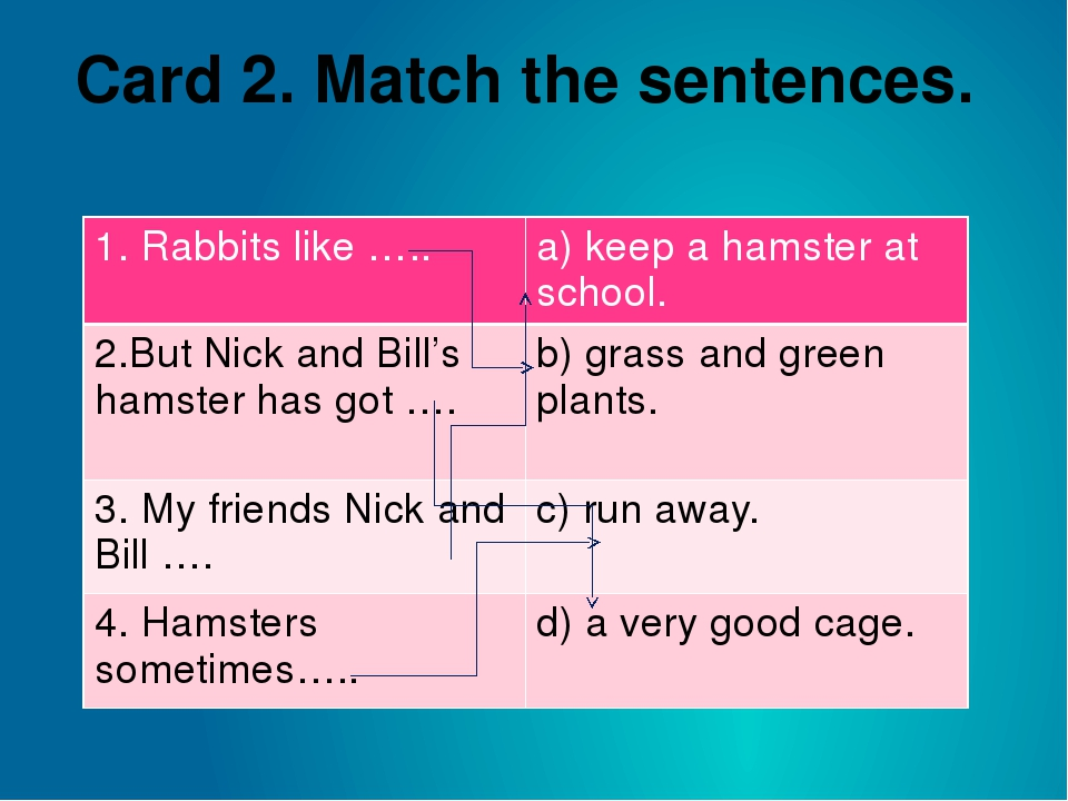 Card 2. Match the sentences. 1. Rabbits like ….. a) keep a hamster at school....