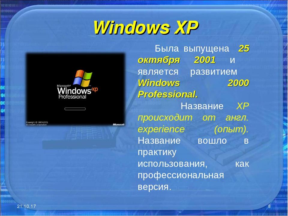 Windows XP * * Была выпущена 25 октября 2001 и является развитием Windows 200...