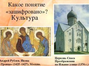 Какое понятие «зашифровано»? Андрей Рублев. Икона «Троица» (1425 -1427). Моск