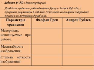 Задание 14 (У) с взаимопроверкой Проведите сравнение работ Феофана Грека и Ан