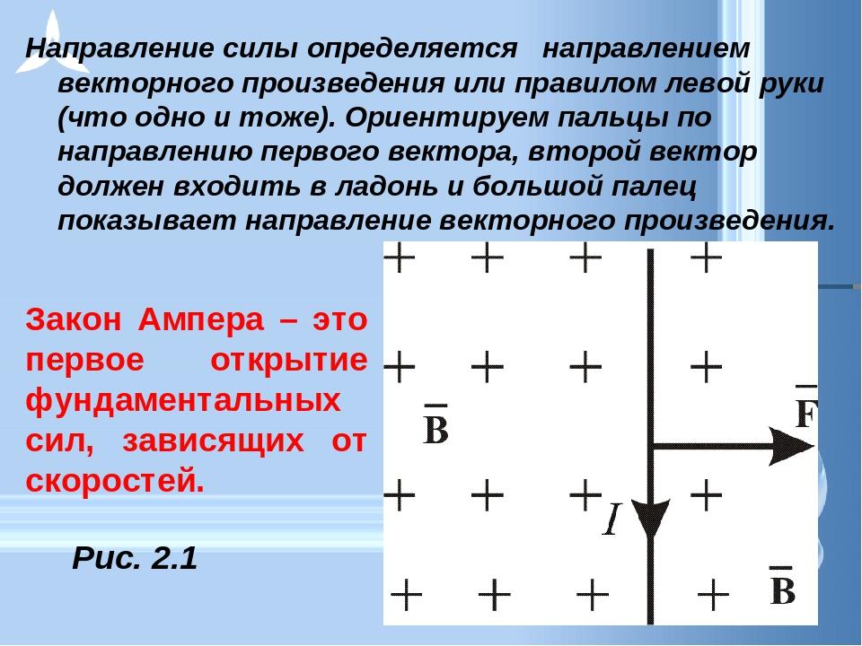 Направление силы определяется направлением векторного произведения или прави...