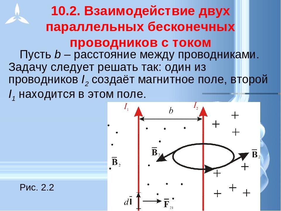 10.2. Взаимодействие двух параллельных бесконечных проводников с током Пусть...