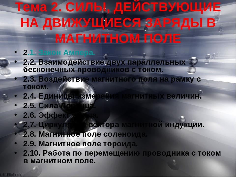 Тема 2. СИЛЫ, ДЕЙСТВУЮЩИЕ НА ДВИЖУЩИЕСЯ ЗАРЯДЫ В МАГНИТНОМ ПОЛЕ 2.1. Закон Ам...