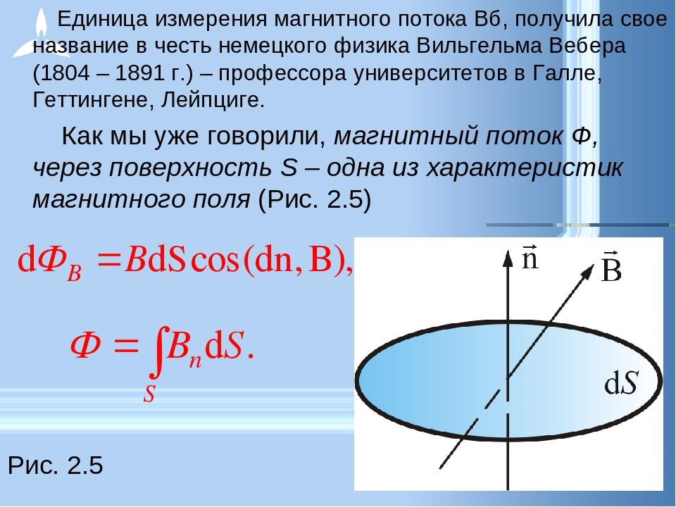 Единица измерения магнитного потока Вб, получила свое название в честь неме...