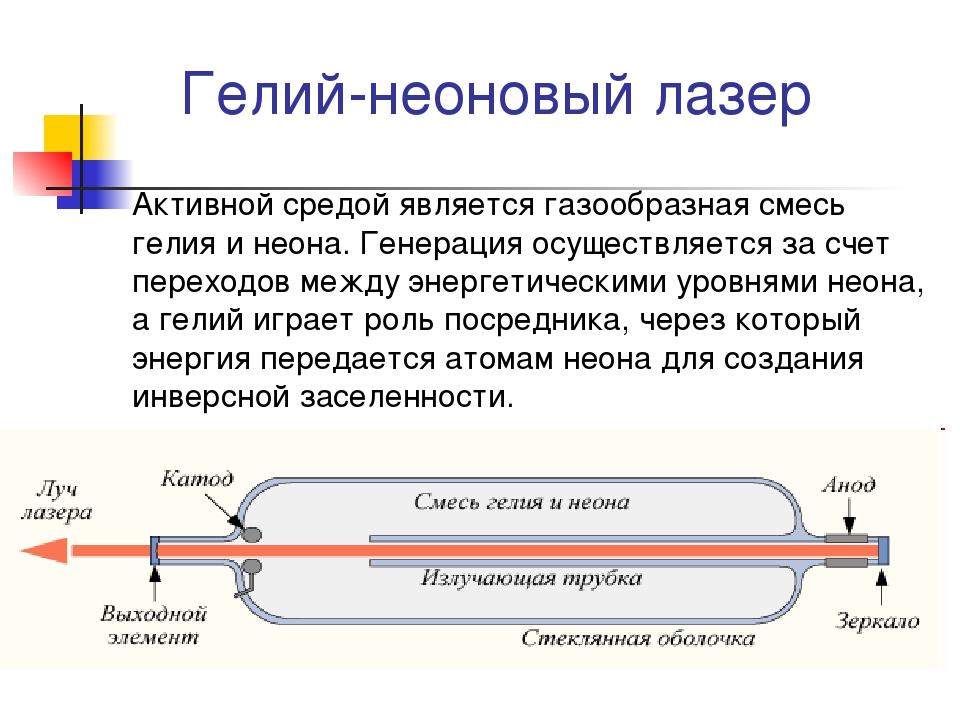 Гелий-неоновый лазер Активной средой является газообразная смесь гелия и нео...