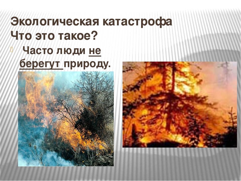 Экологическая катастрофа Что это такое? Часто люди не берегут природу.