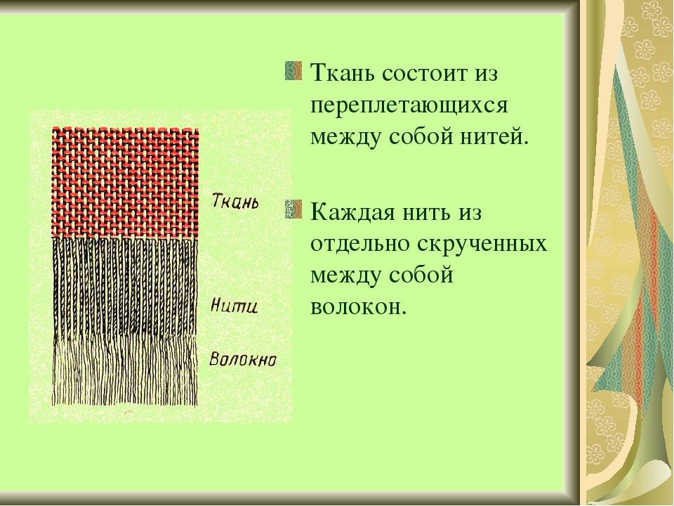 Ткань состоит из переплетающихся между собой нитей. Каждая нить из отдельно с...