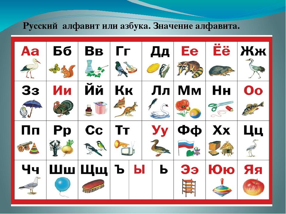 Русский алфавит или азбука. Значение алфавита.