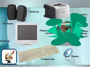Монитор Колонки Клавиатура Дисковод компакт-дисков Принтер Микросхемы памяти