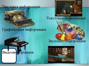 Числовая информация Текстовая информация Графическая информация Звуковая инфо