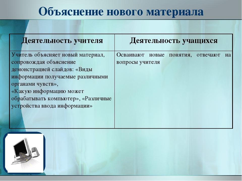 Объяснение нового материала Деятельность учителя Деятельность учащихся Учител...