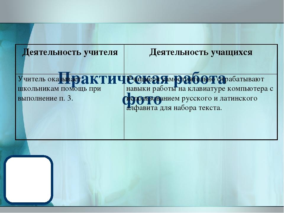 Практическая работа фото Деятельность учителя Деятельность учащихся Учитель...