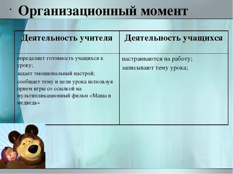 Организационный момент Деятельность учителя Деятельность учащихся определяет...