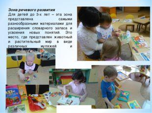 Зона речевого развития Для детей до 3-х лет – эта зона представлена самыми ра